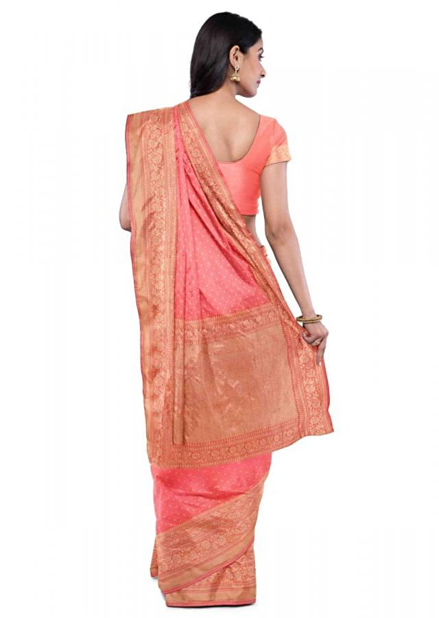 Crimson Pink Banarasi Saree In Chiffon With Matching Blouse Piece Online - Kalki Fashion
