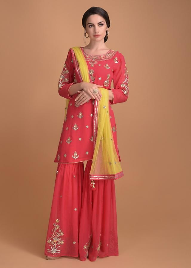 Crimson Pink Sharara Suit With Gotta Patch Embroidery On The Neckline And Floral Buttis Online - Kalki Fashion
