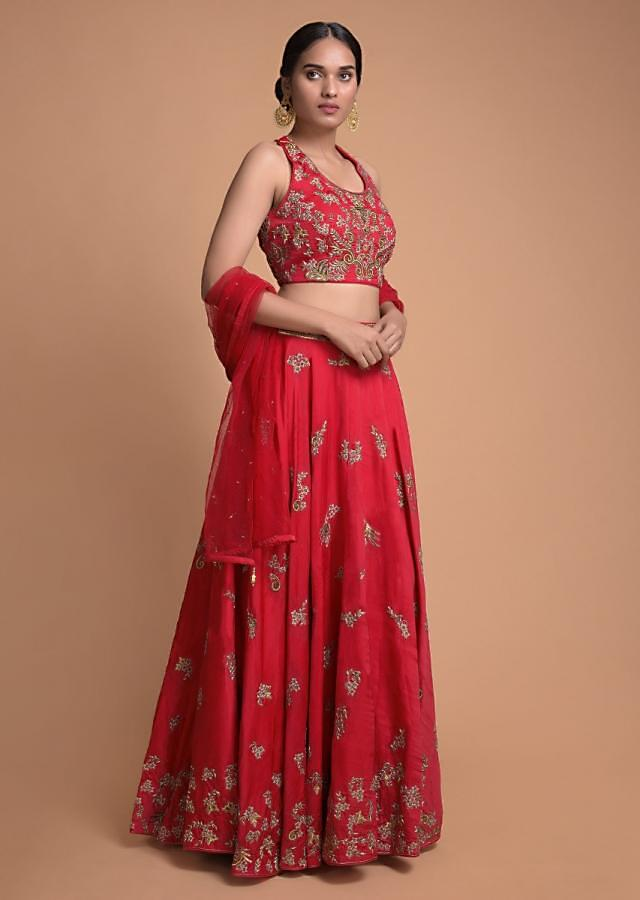 Crimson Red Lehenga And Crop Top With Zardosi And Resham Embroidery Online - Kalki Fashion