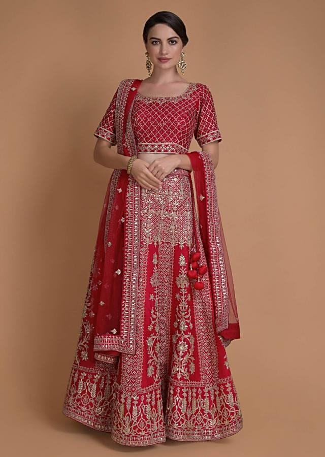 Crimson Red Lehenga Choli With Gotta And Zardozi Work In Floral And Moroccan Pattern Online - Kalki Fashion