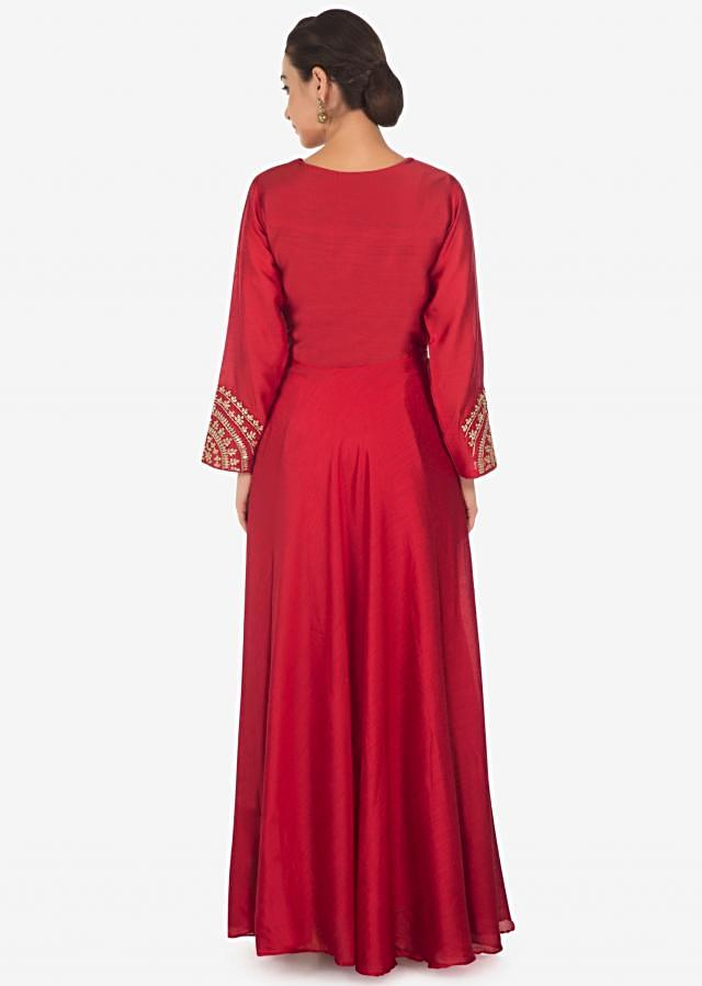 Crimson red anarkali suit in silk with gotta patch and zardosi embroidery only on Kalki