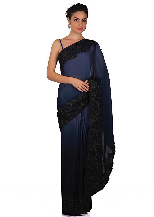 Crown blue and midnight blue shaded saree in 3D flower work only on Kalki