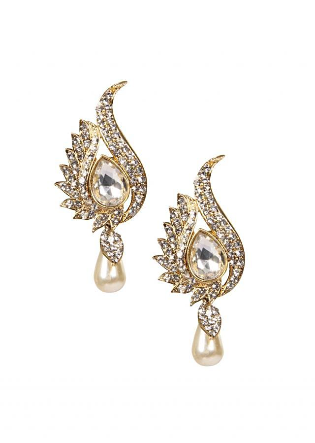 Crystal Earrings With Pearl Hanging