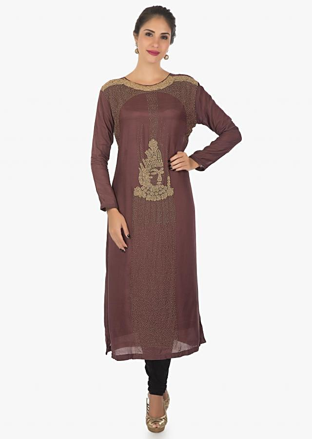 Currant red cotton kurti with moti work all over only on Kalki