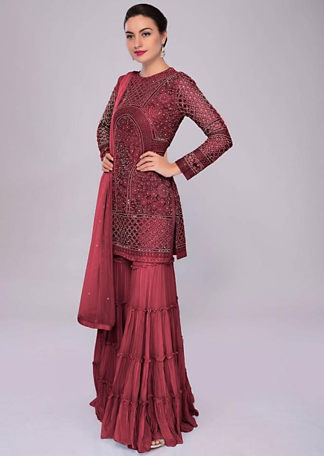 Currant Red Sharara Suit In Embroidered Net With Self Resham Jaal Embroidery Online - Kalki Fashion