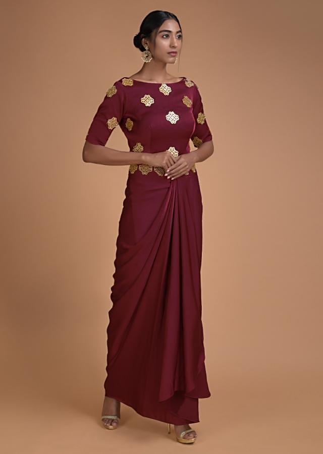 Currant Red Skirt And Crop Top With Fancy Pleat Details And Cut Out Mirrors Online - Kalki Fashion