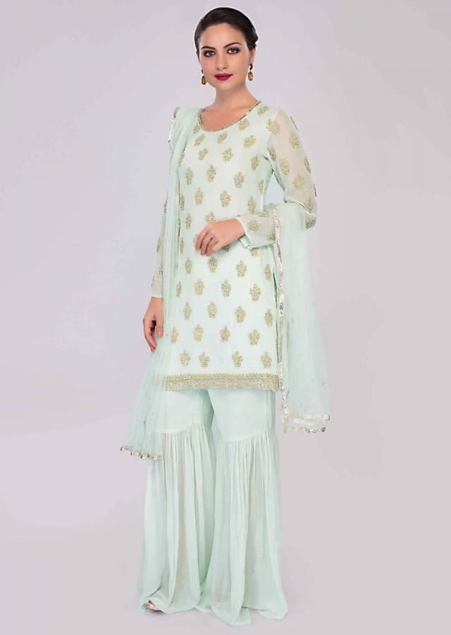 Pista Green Sharara Suit Set With Cut Dana And Sequins Embroidery Online - Kalki Fashion