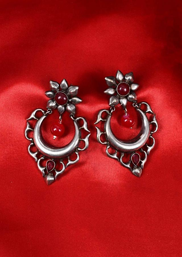 Cut out silver dangler earring with red beads only on Kalki