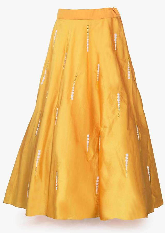 Daffodil yellow lehenga in silk with cream blouse in moti embroidered sleeve only on Kalki
