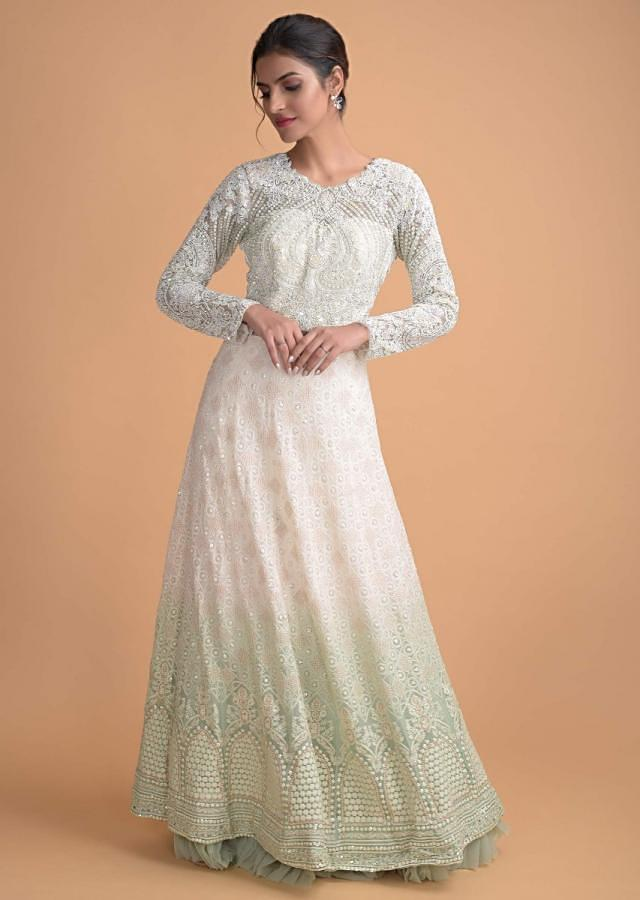 Daisy White And Pastel Green Shaded Anarkali Suit With Lucknowi Work Online - Kalki Fashion