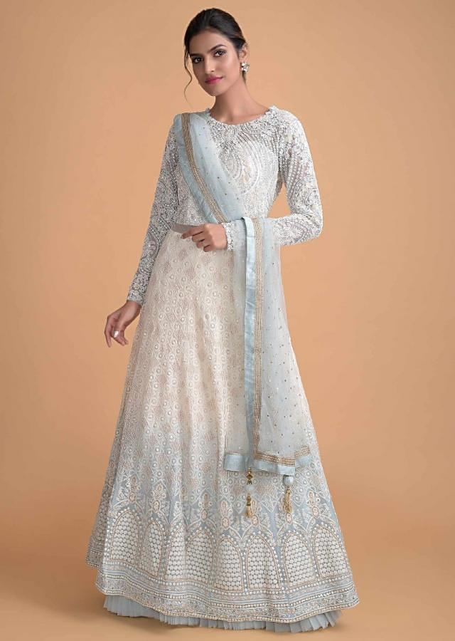 Daisy White And Powder Blue Shaded Anarkali Suit With Lucknowi Work Online - Kalki Fashion