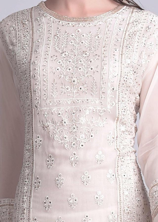Daisy White Sharara Suit In Chiffon With Floral And Mughal Embroidery Work Online - Kalki Fashion