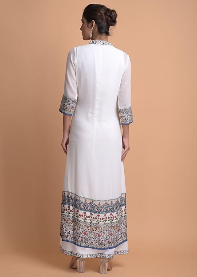 Daisy White Tunic In Georgette With Printed Patola And Floral Pattern Online - Kalki Fashion