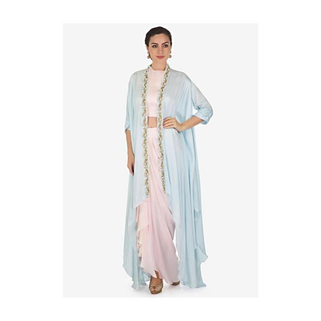 Daisy pink crop top with cowl drape skirt matched with embroidered fancy jacket only on Kalki