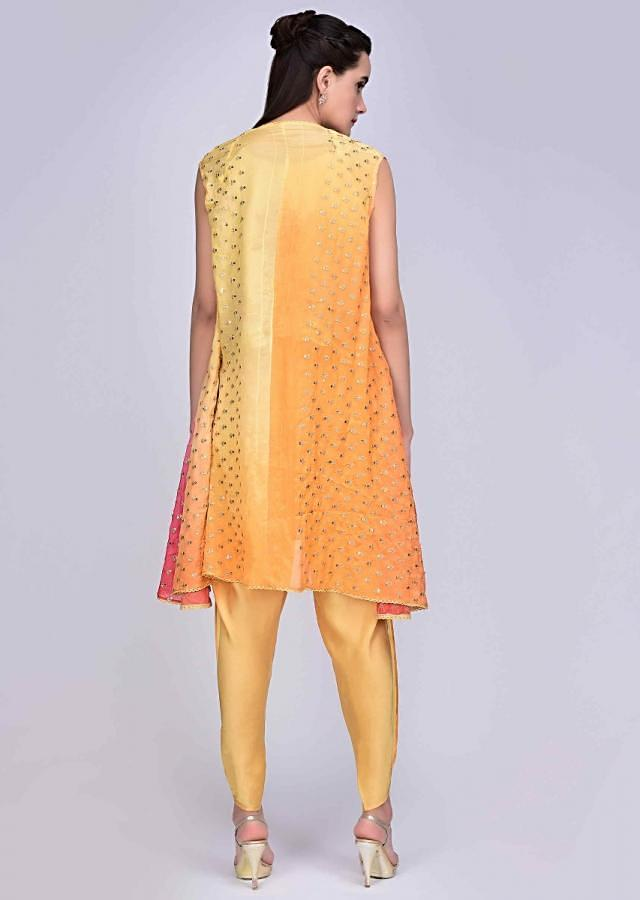Dandelion Yellow Dhoti And Crop Top With Embroidered Shaded Jacket Online - Kalki Fashion