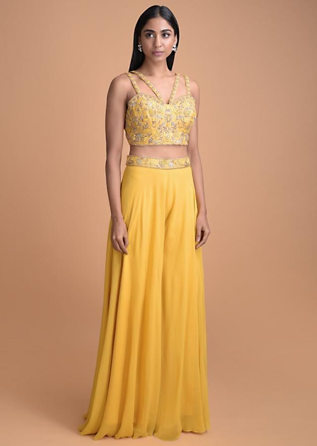 Dandelion Yellow Sleeveless Crop Top And Palazzo Bottoms With Net Jacket Online - Kalki Fashion
