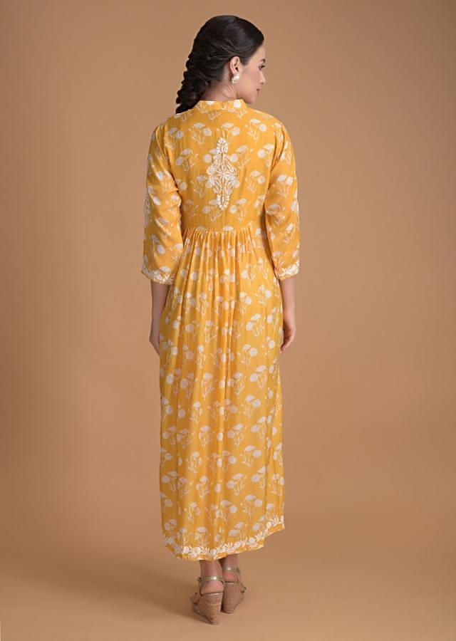 Dandelion Yellow Tunic In Cotton With Floral Printed Buttis And Thread Embroidery Online - Kalki Fashion