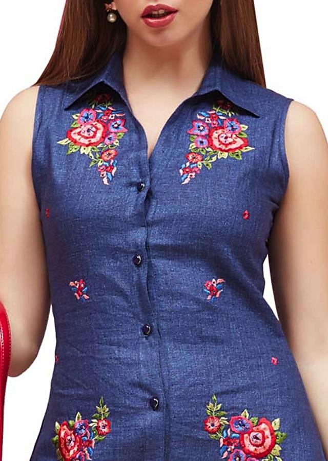 Dark blue button down kurti in floral embroidery