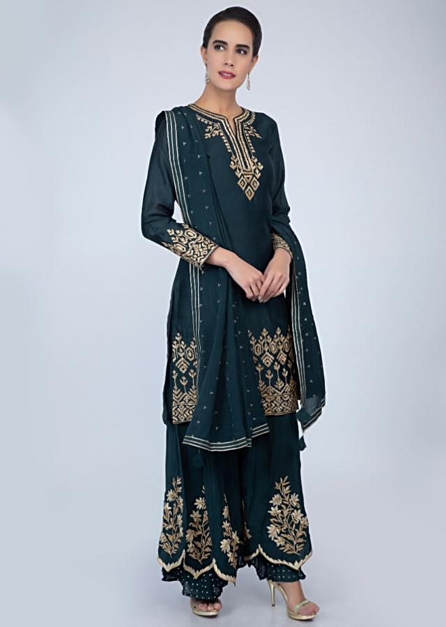 Dark blue palazzo suit set with flat embroidery only on Kalki