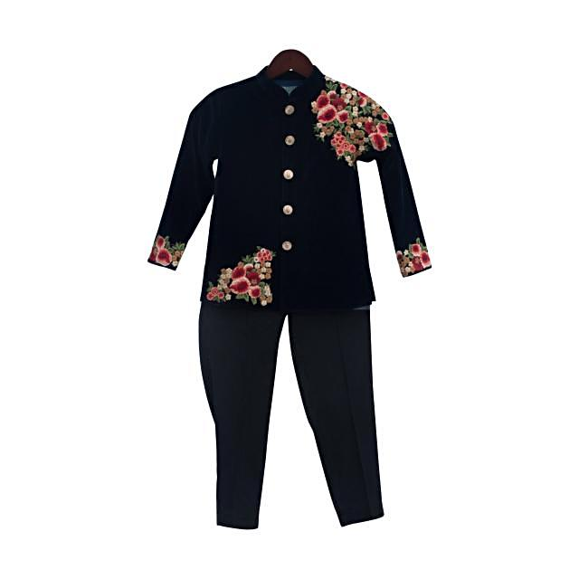 Dark Blue Velvet Embroidery Ajkan  by Fayon Kids