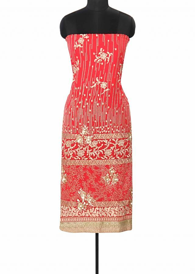 Dark coral unstitched suit enhanced in thread and sequin embroidery only on Kalki