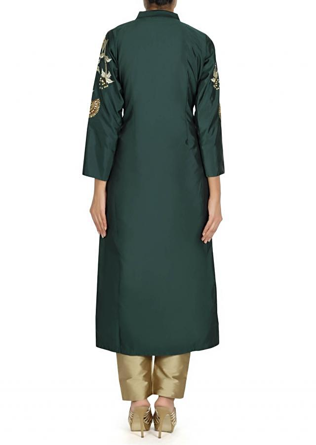 Dark green A line suit with embroidered armhole only on Kalki