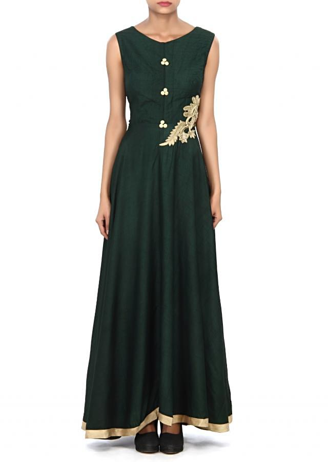 Dark green anarkali suit adorn in French knot embroidery only on Kalki