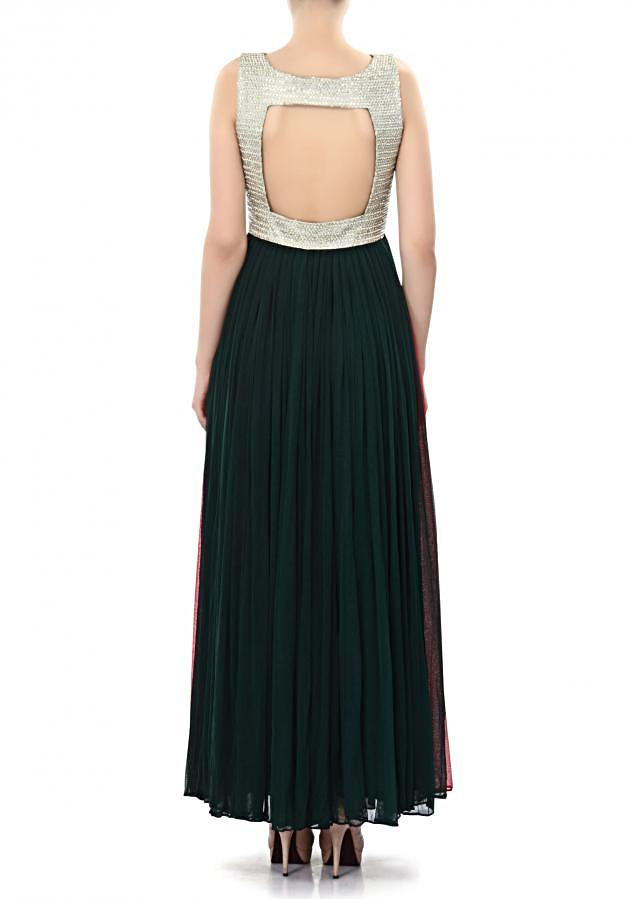 Dark green anarkali suit enhanced in pearl and stone embroidery only on Kalki