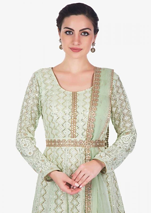 Pista Green Anarkali Suit In Chiffon With Thread Work And Sequin Work Online - Kalki Fashion