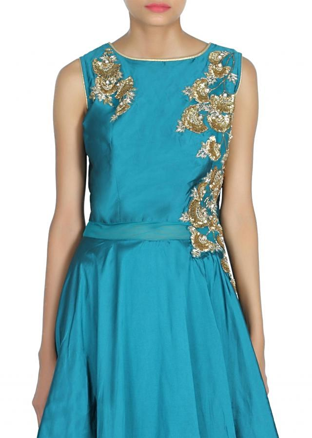 Dark green and navy blue gown adorn in sequin bodice only on Kalki