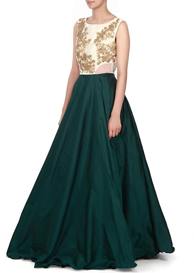 Dark green dress in zari and kundan embroidery only on Kalki
