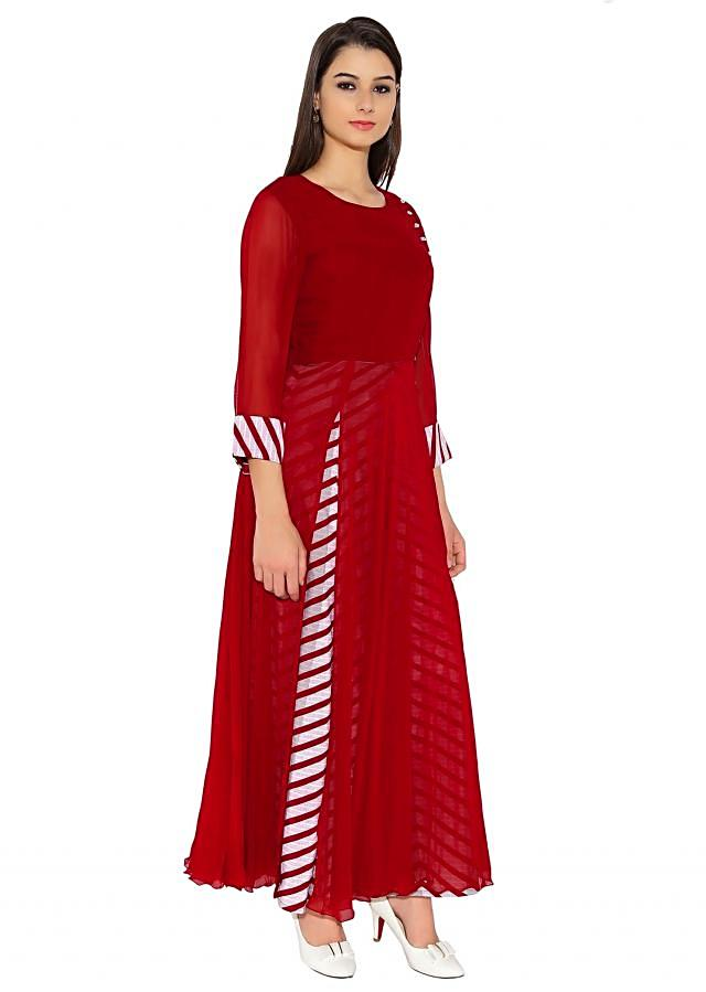 Dark Maroon Georgette Kurti With A-Line And Printed Lining And Side Button Pattern Only On Kalki