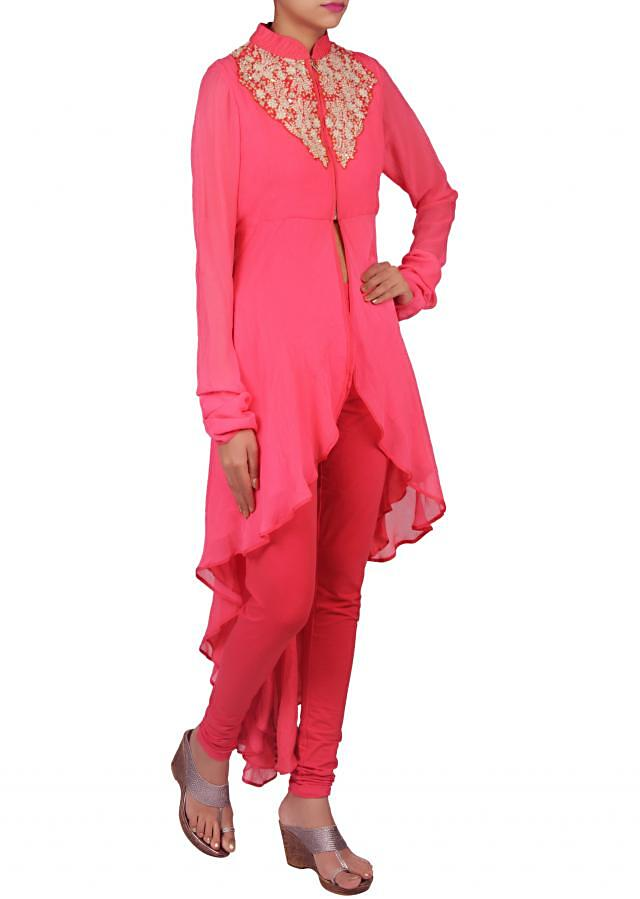 Dark peach kurti embellished in resham and sequence only on Kalki