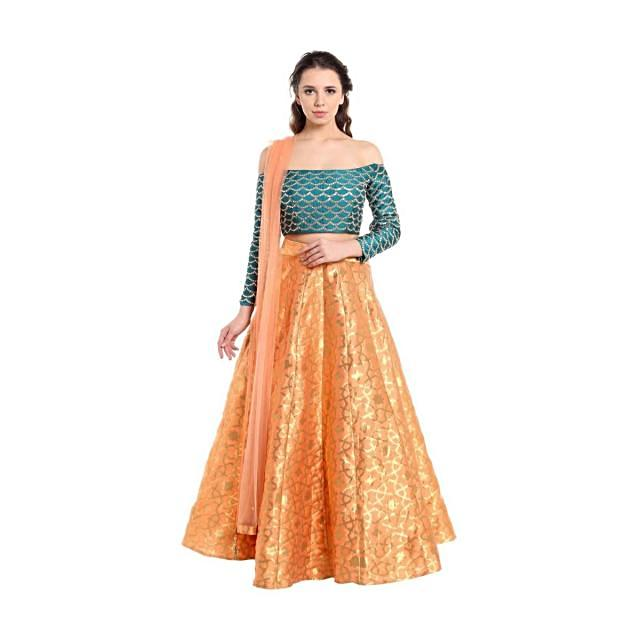 Dark peach lehenga with off shoulder teal blouse only on Kalki