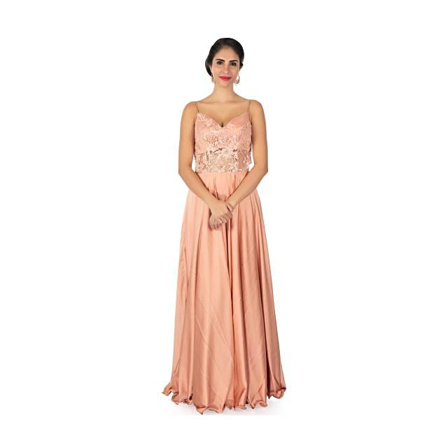Dark peach satin gown with spegatti strap and sheer waistline and back only on Kalki