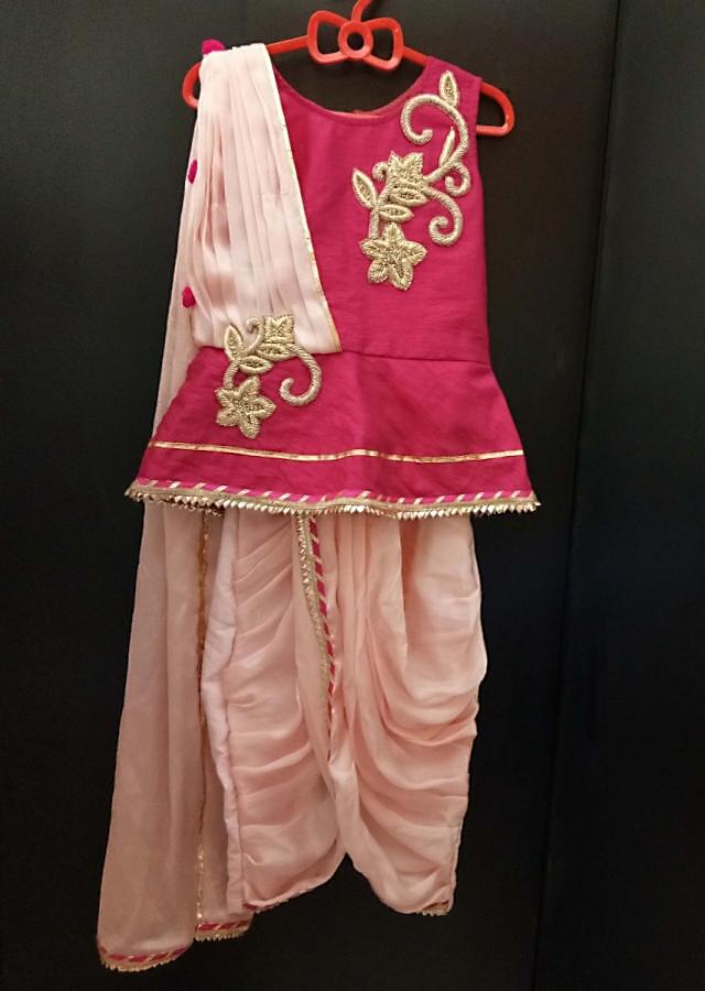 Dark Pink Peplum Top And Dhoti Set In Zardosi With Attached Dupatta Online - Kalki Fashion