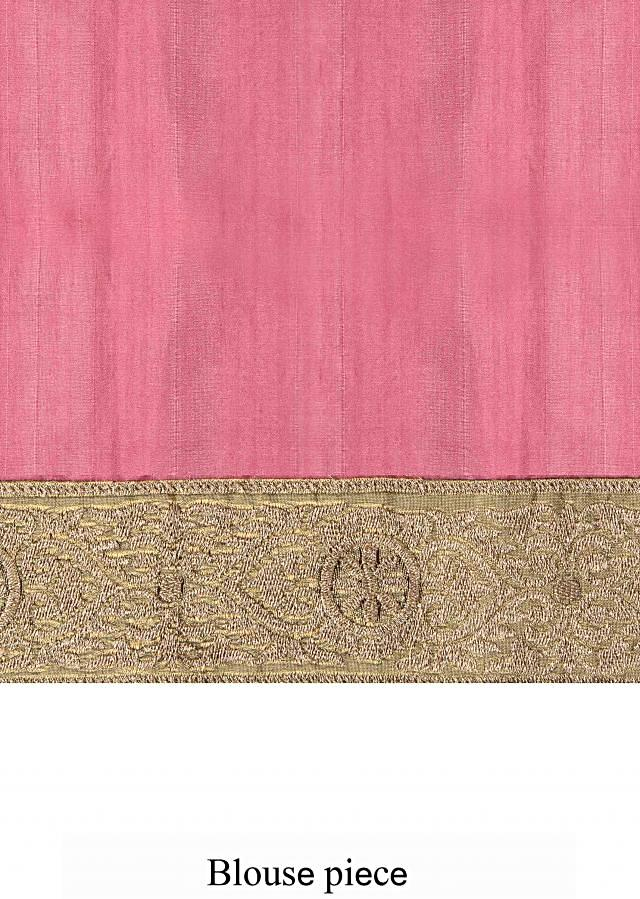 Dark pink saree embellished in zari embroidery only on Kalki