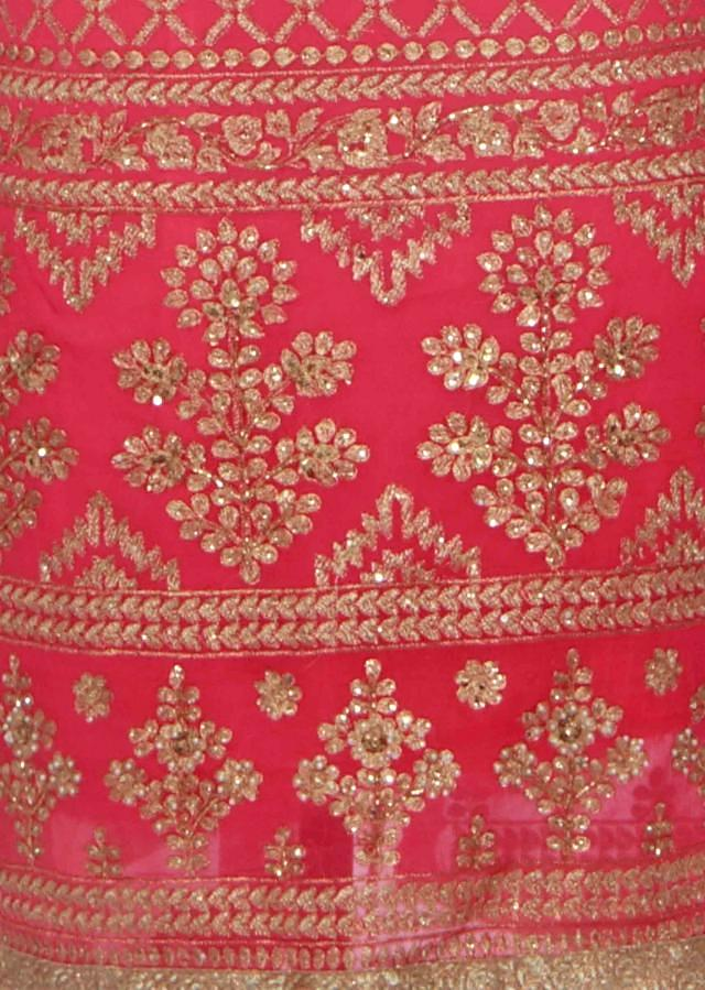 Dark pink unstitched suit adorn in zari embroidery only on Kalki