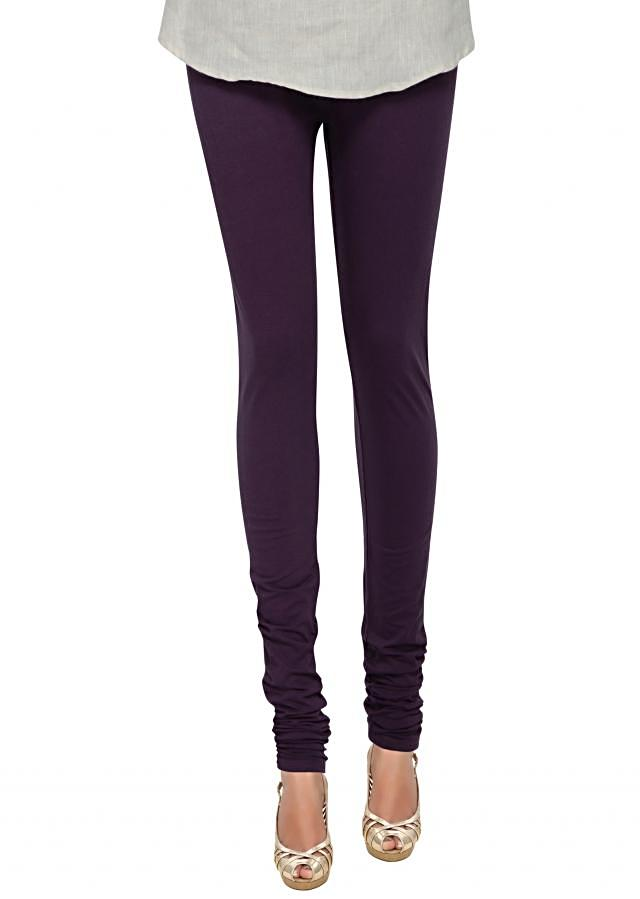 Dark purple cotton hosiery legging only on Kalki