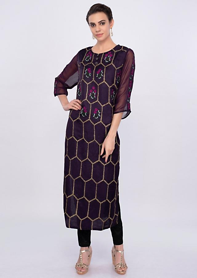 Dark Purple Kurti In Embroidered Silk Online - Kalki Fashion