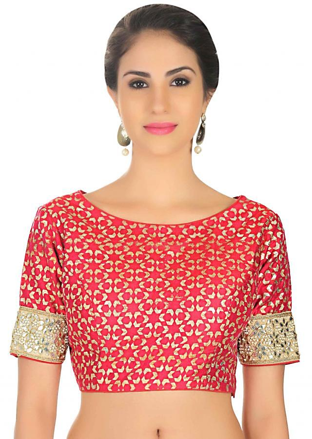 Dark red blouse in silk with foil print only on Kalki