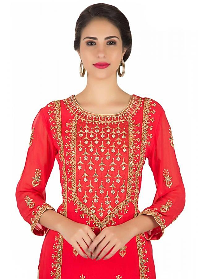 Red Straight Palazzo Suit With Embroidered Placket In Gotta Patch Embroidery Online - Kalki Fashion