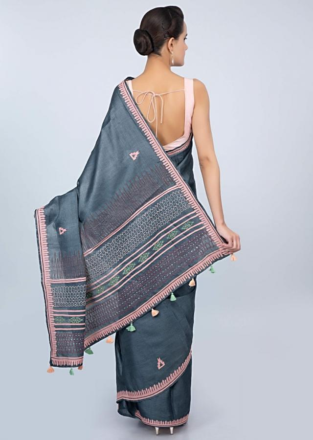 Dark Steel Blue Blouse In Tussar Silk With Patch Embroidered Butti And Border Online - Kalki Fashion