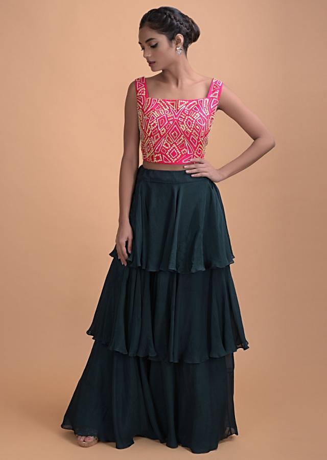 Dark Teal Layered Skirt In Georgette With A Matching Jacket And Pink Crop Top Online - Kalki Fashion