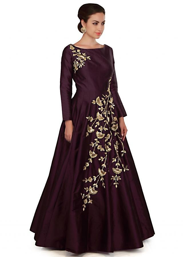 Dark wine gown embellished in floral motif embroidery only on Kalki