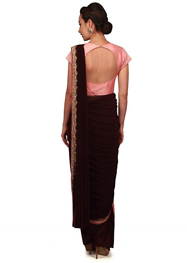 Dark wine ready pleated saree with long jacket blouse only on Kalki