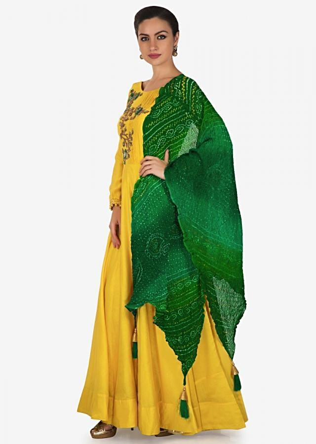 Yellow anarkali suit with pleats and zardosi embroidered bodice only on Kalki
