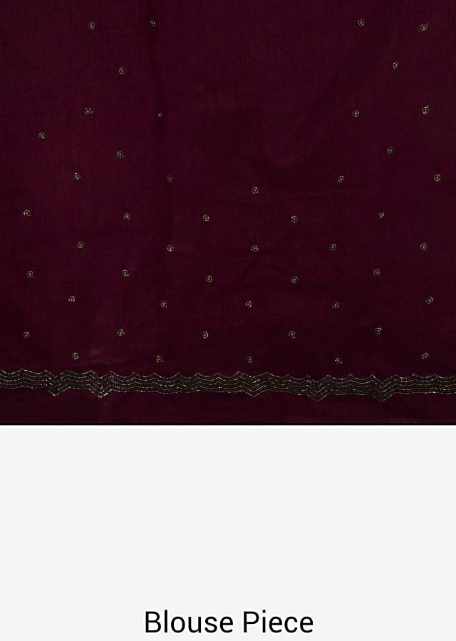 Dark brown saree in crepe with resham embroidery in floral motif only on Kalki