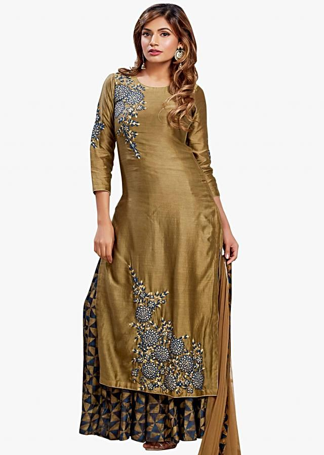 Dark brown suit in chanderi silk with long printed layer in resham embroidery