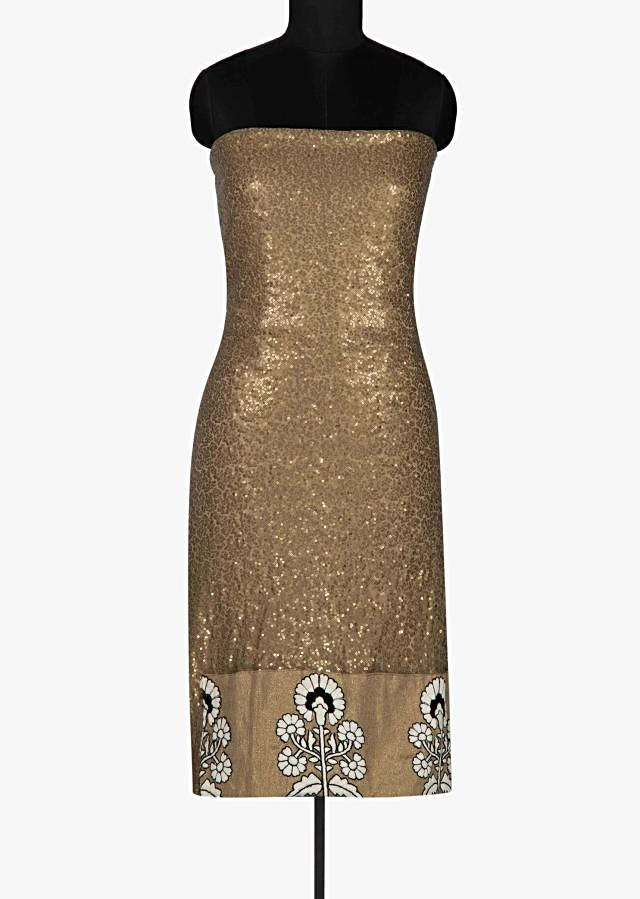 Dark gold unstitched suit enhanced in sequin and thread work only on Kalki